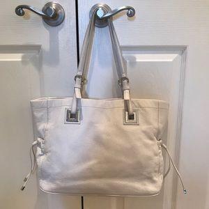 Calvin Klein White Leather Small Tote Bag